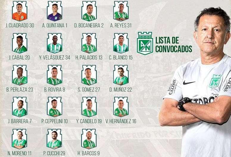 Osorio cita a 19 futbolistas para recibir a Cúcuta. AtléticoNacional