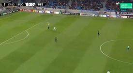 Karius lo volvió a hacer: regaló un gol al Slovan. Captura/Movistar