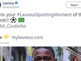 El gesto del brasileño puede tener premio. Twitter/Laureus