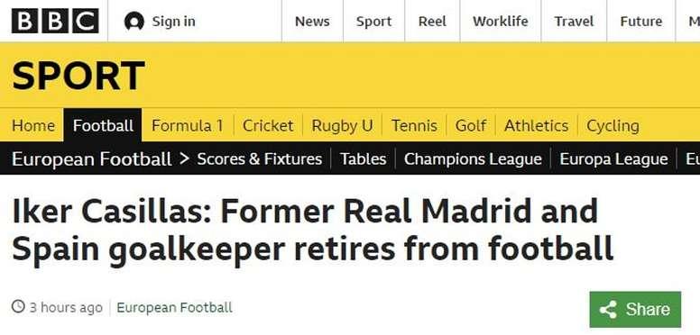 La relevancia de Casillas es internacional. Captura/BBCSport