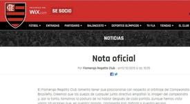 Flamengo foi contundente em seu texto. Captura/Flamengo