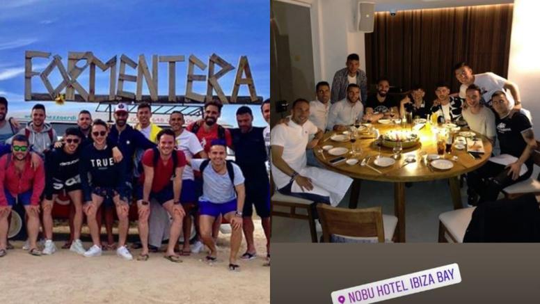 Ronaldo Fenômeno cumpre promessa e leva o Valladolid para Ibiza. Instagram/OscarPlano10/JaviMoyano_7