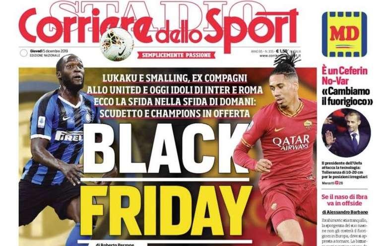 Publicación racista en Italia: un 'Black Friday' con Lukaku y Smalling. Captura/CorrieredelloSport