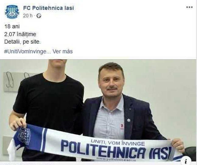 El portero tan alto que no cabía ni en su foto de presentación. Facebook/FCPolitehnicaIasi