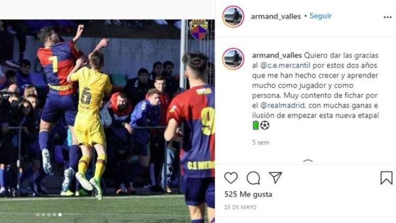 El Madrid refuerza su cantera con Armand Vallés. Instagram/Armand_valles