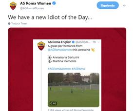 Miles de personas han respondido su vergonzoso comentario. Twitter/ASRomaWomen