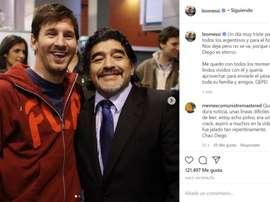 Messi se sumó a las condolencias por el fallecimiento de Maradona. Instagram/leomessi