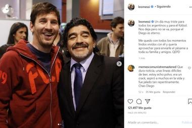 Messi saluta Maradona. InstagramLeoMessi