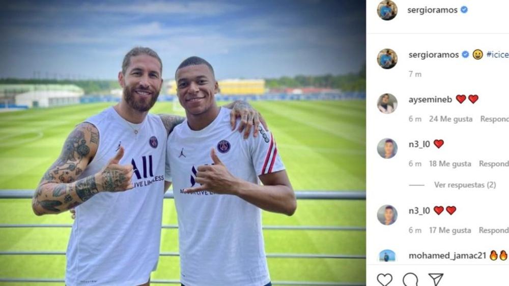 Sergio Ramos y Mbappé, juntos. Captura/Instagram/SergioRamos