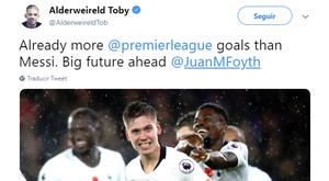 Un gran futuro por delante le espera a Foyth. Twitter/AlderweireldToby