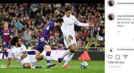 Marcelo fez um corte preciso em Messi no último suspiro. Instagram/marcelotwelve