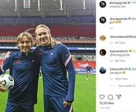 Vida's positive result was known at half-time of Turkey v Croatia. Instagram/domagojvida