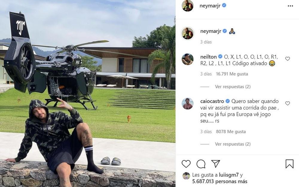Neymar presumió en redes de helicóptero. Instagram/neymarjr