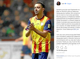 Xavi left a message on Instagram to clarify his absence. Instagram/xavi