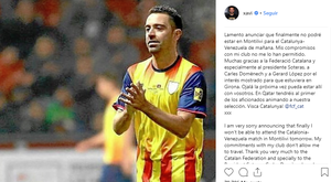 Xavi left a message on Instagram to clarify his absence. Instagram/xavi