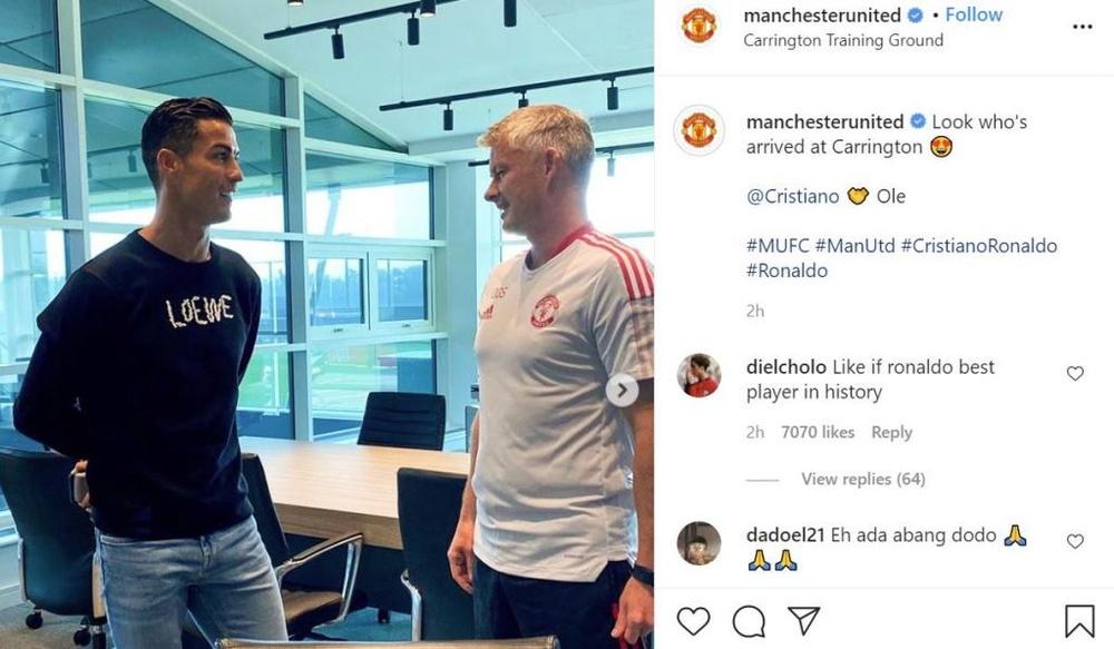 Cristiano se apresenta ao Manchester United. Captura/Instagram/manchesterunited