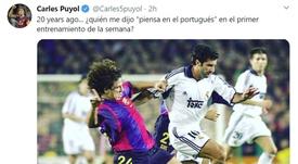 Puyol y Figo compartieron equipo en el Barça. Twitter/CarlesPuyol