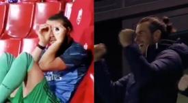 El cambio de actitud de Bale: de los prismáticos a la euforia.Captura/Movistar+/DAZN