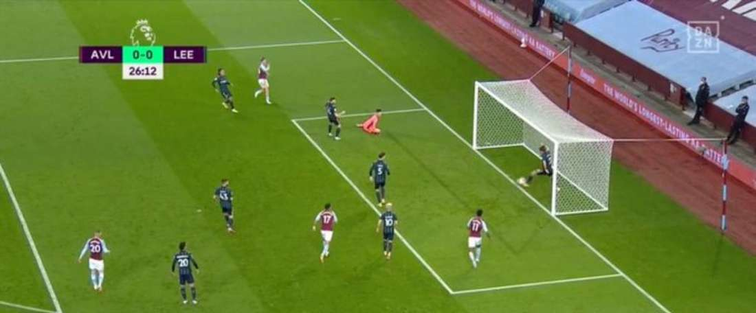 Ayling made a brilliant clearance to prevent Aston Villa taking the lead. Screenshot/DAZN