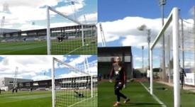 Tres grandes acciones durante el entrenamiento. Twitter/SeFutbol