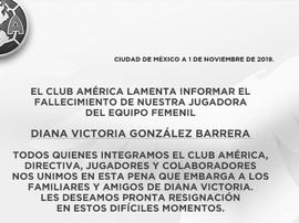 El fútbol mexicano, impactado por el fallecimiento de Diana Victoria González. ClubAmérica