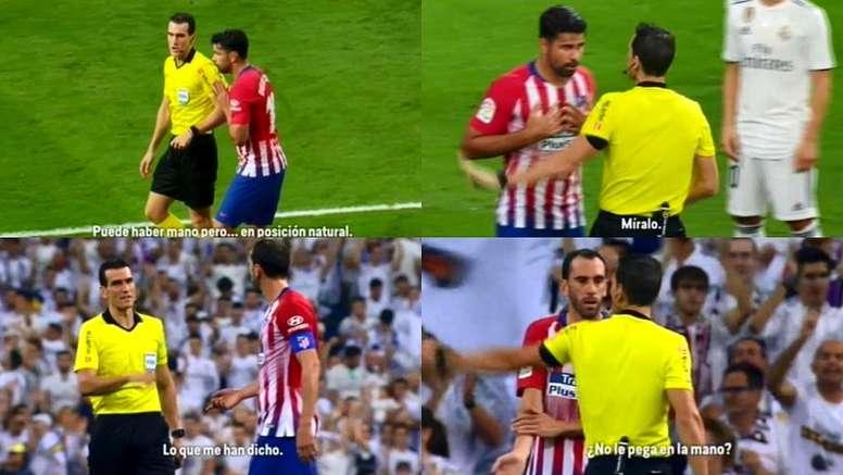 El Atleti protestó con insistencia la posible mano de Casemiro. Captura/Movistar