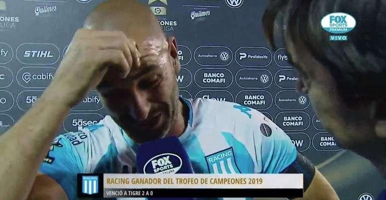 Lisandro López, emocionado con el título de Racing. Captura/FOXSports