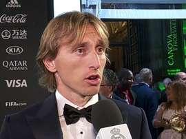 Modric s'est exprimé après la cérémonie The Best. Capture/RealMadridTV
