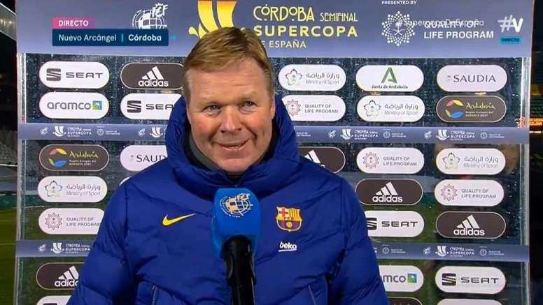 Koeman habló tras el pase del Barça. Captura/Movistar+