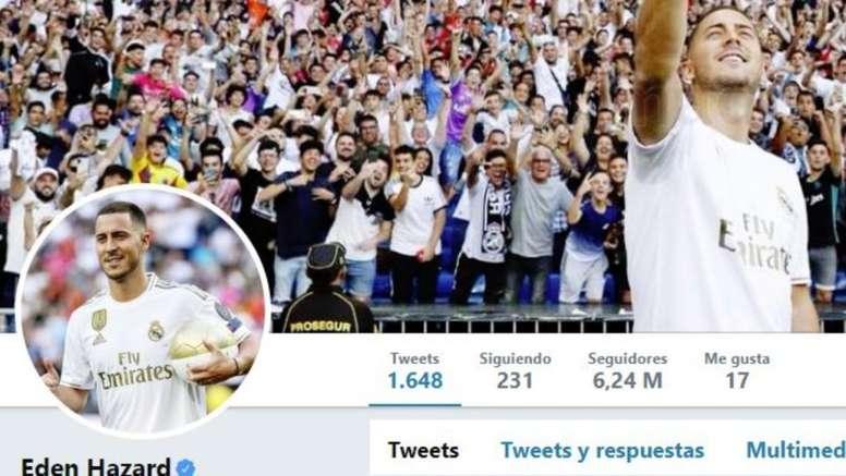 Hazard también cambió de color en redes sociales. Twitter/hazardeden10