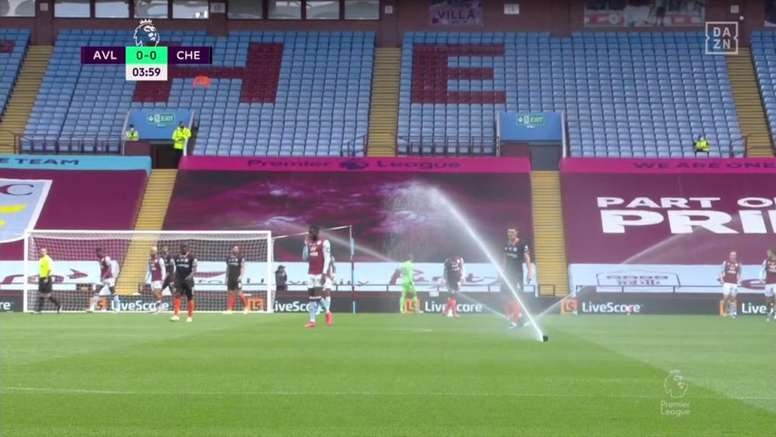 The sprinklers stole the show. Screenshot/DAZN