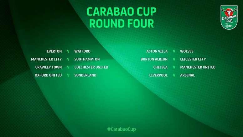 Bem vindos às oitavas de final da Carabao Cup. Twitter/CarabaoCup