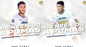 Pumas anunció dos fichajes de una tacada. Twitter/PumasMX