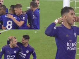 El Leicester se fue al descanso ganando 0-5 al Southampton. Captura/DAZN