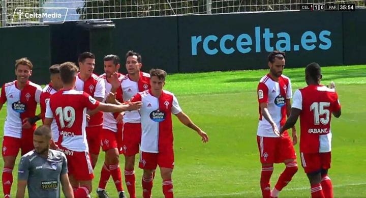 Nolito y Santi Mina anotaron los goles del partido. Captura/CeltaMedia