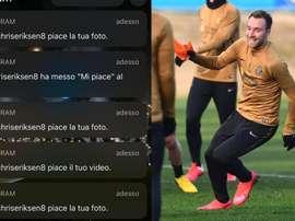 Eriksen mostra seu amor à Inter. Instagram/Inter