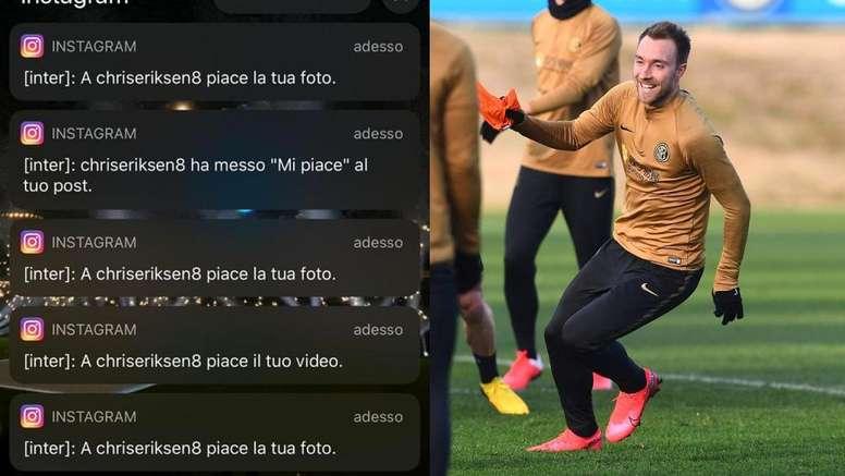 El tonteo de Eriksen en redes del que presumió el Inter. Instagram/Inter
