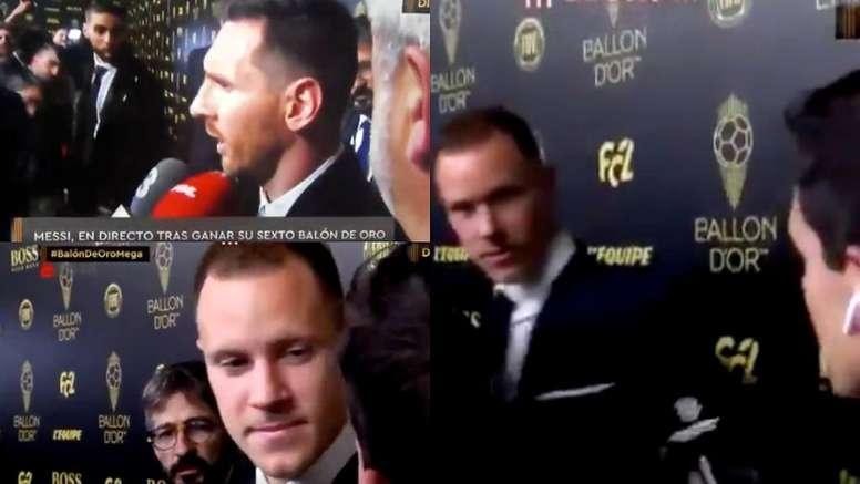 Messi, Ter Stegen... Edu Aguirre se llevó dos cortes en directo. Captura/MEGA