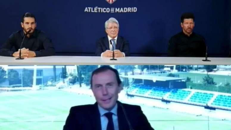 Madrid y Atlético no pudieron hablar en directo. Captura/UEFA