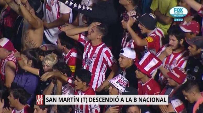 San Martín de Tucumán, el primero que se va a la 'B'. Captura/FOXSportsARG