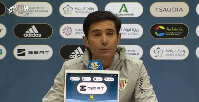 Marcelino analizó la eliminatoria ante el Madrid. Captura/RFEF