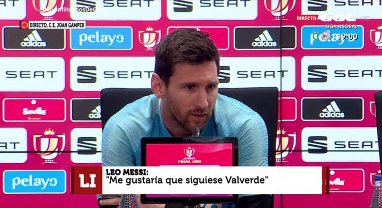 Lionel Messi était présent en conférence de presse. Captura7GOL