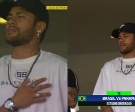 Neymar a été voir ses coéquipiers. Capture/SportTV1