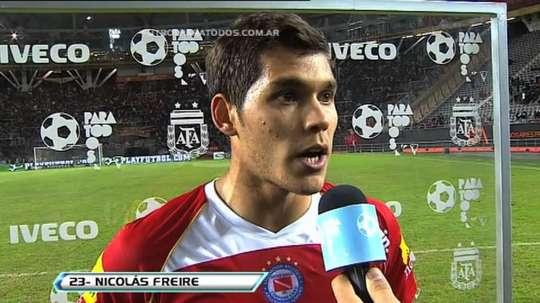 Captura de Nicolás Freire, tras un choque con Argentinos Juniors.