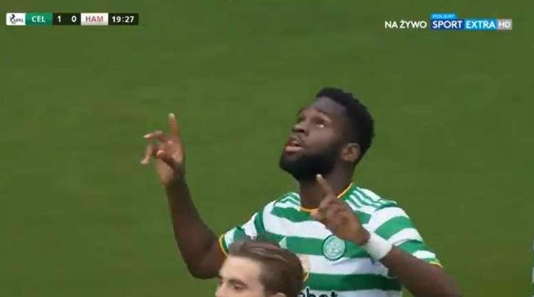 Edouard marcó el primer gol del Celtic 2020-21. Captura/SportExtra