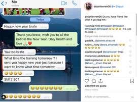 Salah avait besoin de connaître l'heure. Instagram/dejanlovren06
