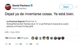 Dani Pacheco desmintió los rumores. Twitter/Dani37Pacheco