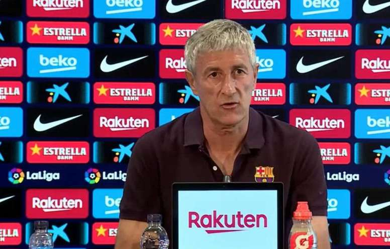 Setien spoke prior to the game against Espanyol. Captura/BarcaTV