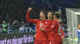 Lewandowski voltou a marcar na Bundesliga e alcançou Timo Werner. Captura/MovistarLigadeCampeones
