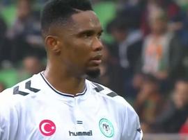 Samuel Eto'o a transformé son penalty avec Konyaspor. Twitter/FutCep